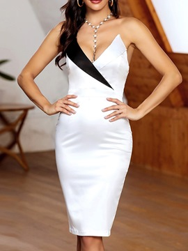 Ericdress Sexy Strapless V-Neck Knee-Length Bodycon Single Dress