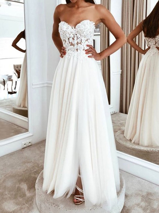 Ericdress Sleeveless A-Line Floor-Length Sweetheart Beach Wedding Dress