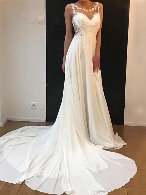 Ericdress Appliques Button Beach Wedding Dress 2019