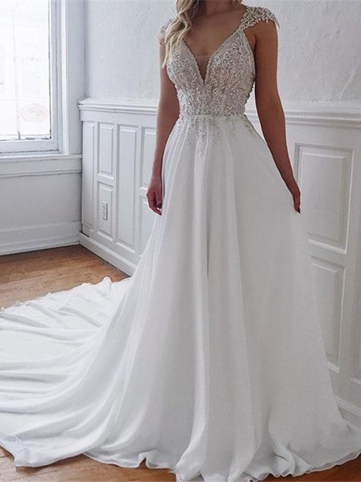 Ericdress Floor-Length Beading V-Neck A-Line Garden/Outdoor Wedding Dress 2020