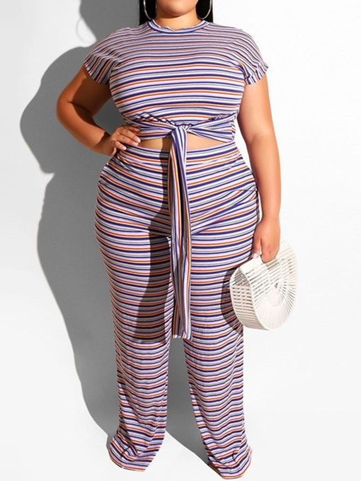Ericdress PlusSize Stripe Pullover Round Neck Women's Suit T-Shirt And Pants Two Piece Sets