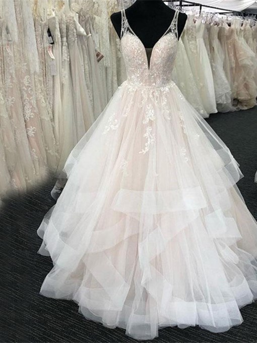 Ericdress Straps Appliques Tiered Tulle Hall Wedding Dress