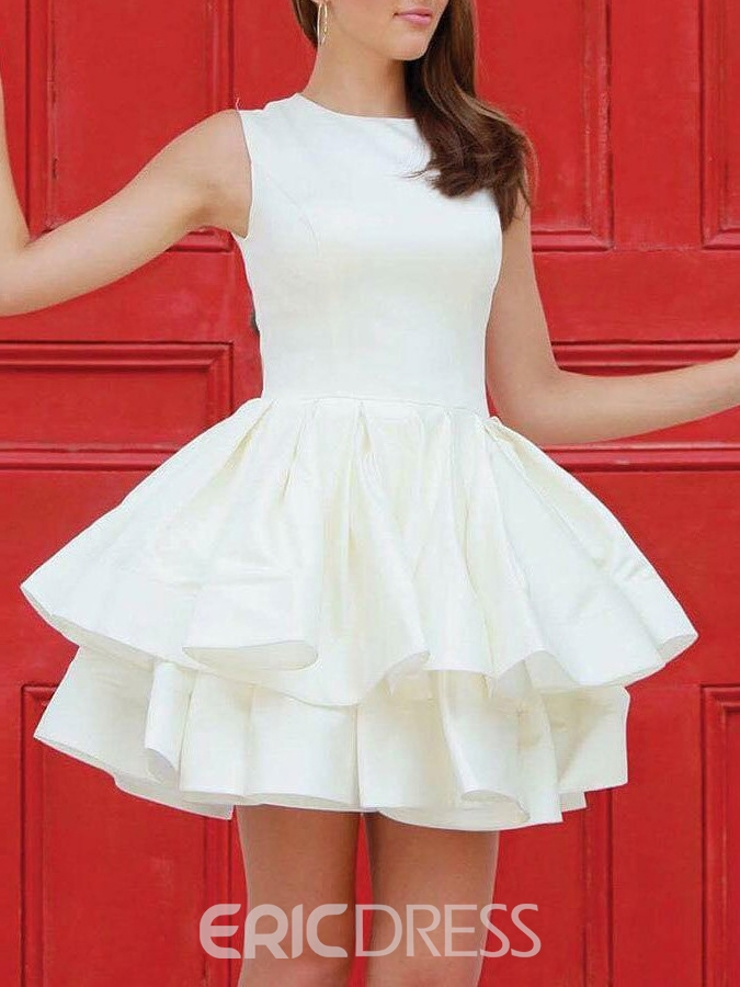 Ericdress A-Line Jewel Mini Ruched Homecoming Dress