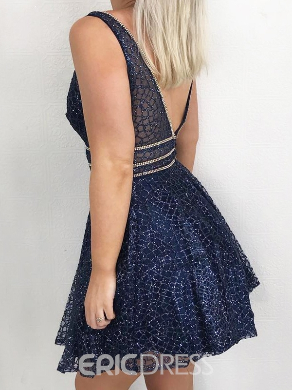 Ericdress Short Straps A-Line Beading Homecoming Dress