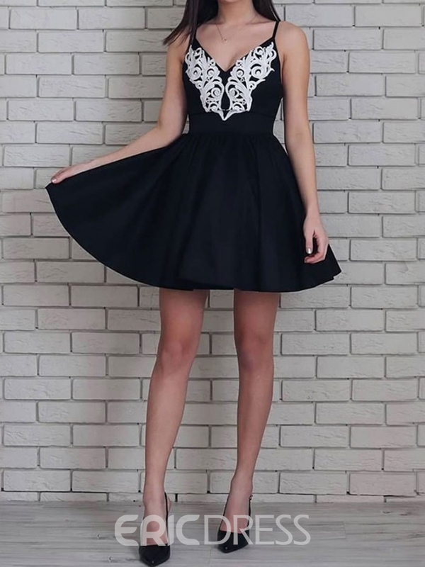 Ericdress Spaghetti Straps Sleeveless A-Line Appliques Homecoming Dress