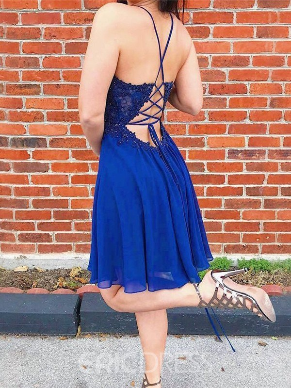 Ericdress Spaghetti Straps Knee-Length Appliques A-Line Homecoming Dress
