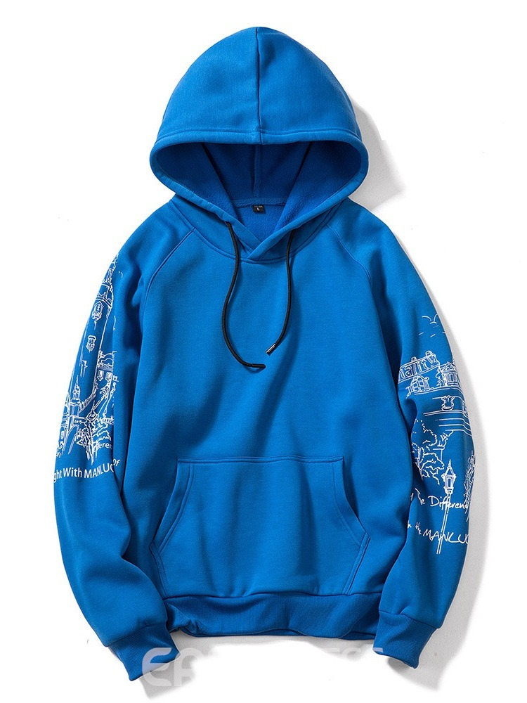 Ericdress Letter Thick Print Men's Loose Hoodies