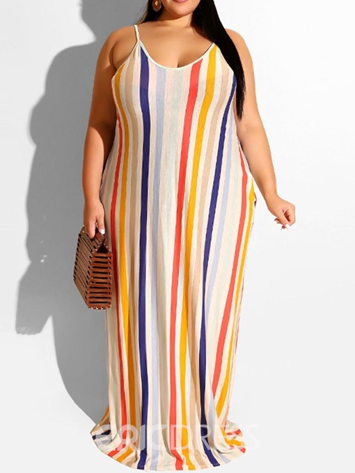 Ericdress Plus Size Striped Floor-Length Sleeveless Travel Look Dress
