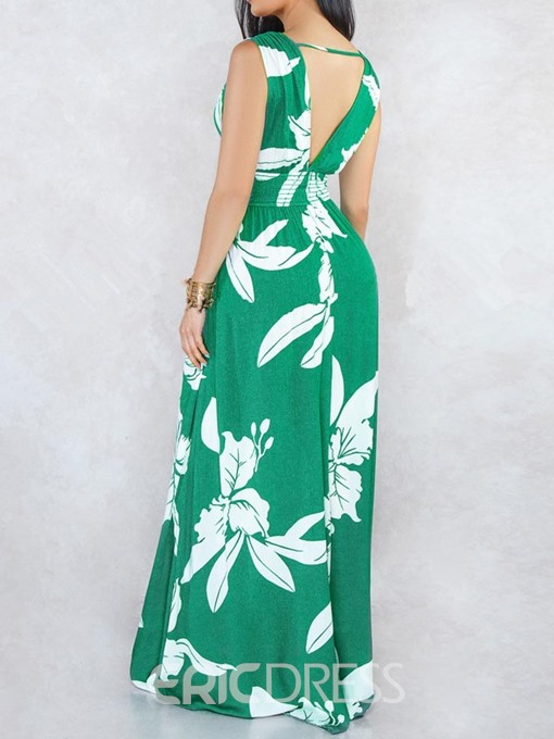 Ericdress Print Pleated Backless V-Neck Floor-Length A-Line Floral Dress