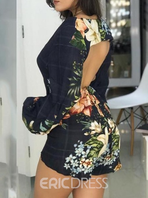 Ericdress Backless Ladylike Floral High Waist Culottes Romper(Without Waistband)