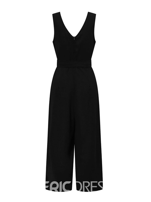 Ericdress Plain Travel Look Backless Loose High Waist Jumpsuit