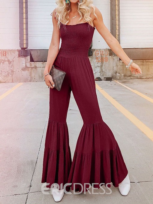 Ericdress Dressy Plain Pleated Bellbottoms High Waist Jumpsuit
