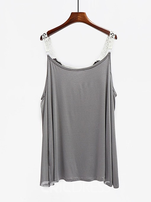 Ericdress Plus Size Patchwork Hollow Flare Sleeve Sexy T-Shirt