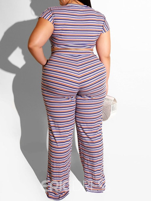 Ericdress Plus Size Stripe Pullover Round Neck Women's Suit T-Shirt And Pants Two Piece Sets