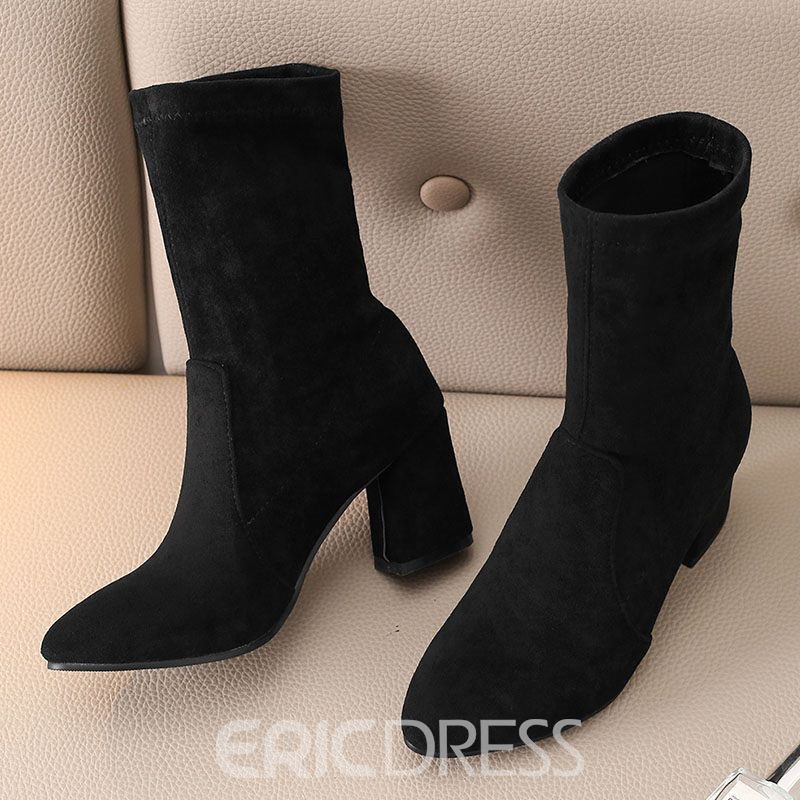 Ericdress Faux Suede Chunky Heel Plain Women's Ankle Boots