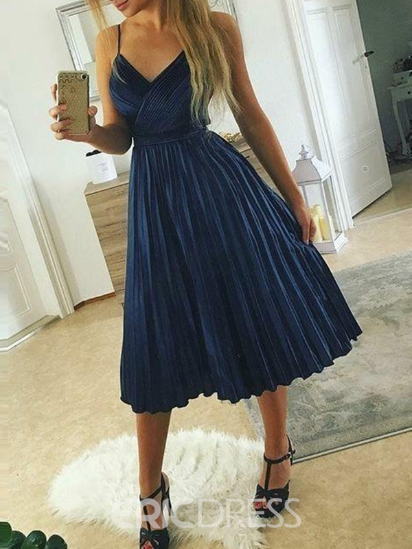 Ericdress Tea-Length Sleeveless Spaghetti Straps Pleats Dress