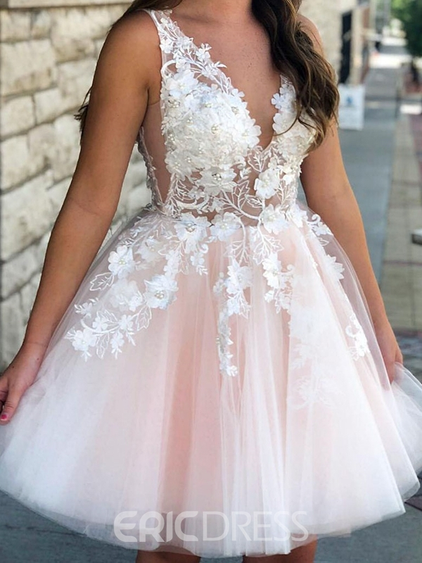 Ericdress Sleeveless Knee-Length Beading A-Line Homecoming Dress