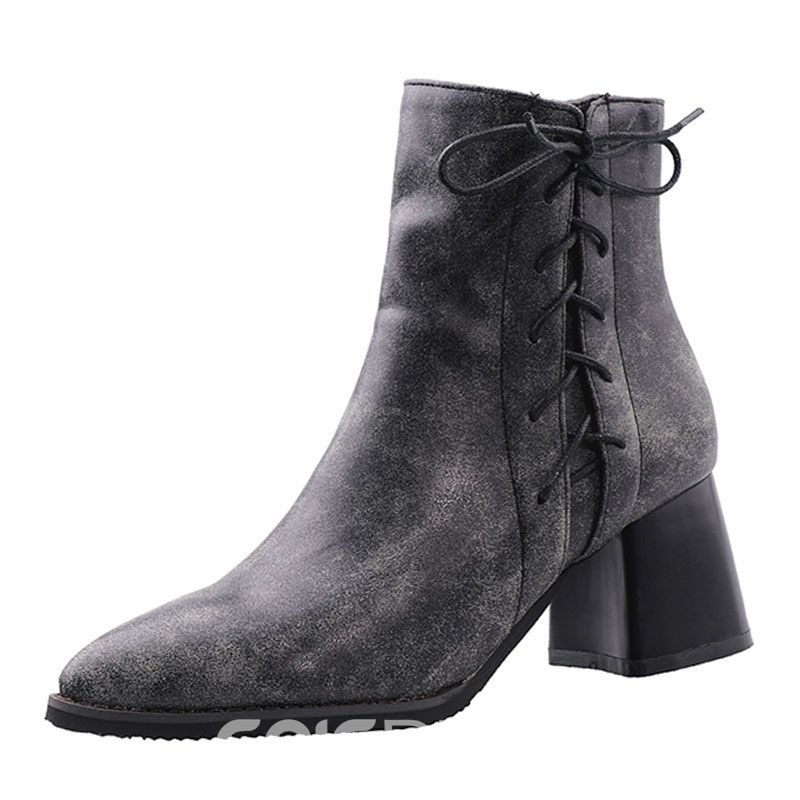 Ericdress PU Side Zipper Chunky Heel Women's Casual Ankle Boots