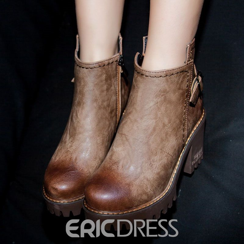 Ericdress PU Chunky Heel Round Toe Women's Casual Boots