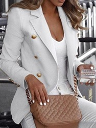 Ericdress Plain Double-Breasted Long Sleeve Notched Lapel Fall Regular Casual Womens Blazer фото