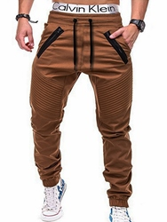 Ericdress Plain Straight Thin Lace Up Mens Casual Olive Pants фото