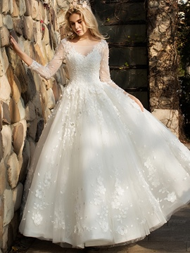 Ericdress 3/4 Length Sleeves A-Line Beading Wedding Dress 2020
