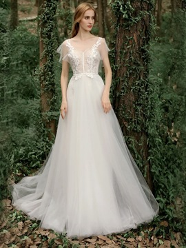 Ericdress Cap Sleeves Appliques Garden Wedding Dress