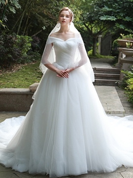 Ericdress Ball Gown Off-The-Shoulder Floor-Length Wedding Dress 2020