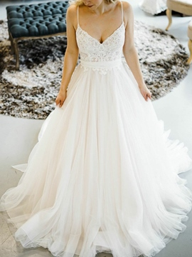 Ericdress Spaghetti Straps Sashes Lace Wedding Dress 2019