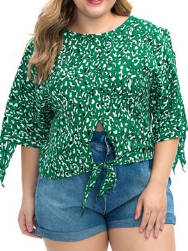 Ericdress Plus Size Print Floral Round Neck Bowknot Loose Blouse