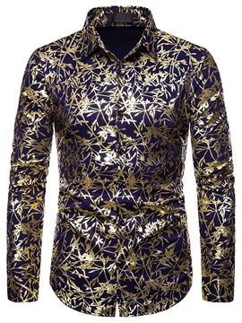 ericdress print Revers Mode Herren Slim Shirt