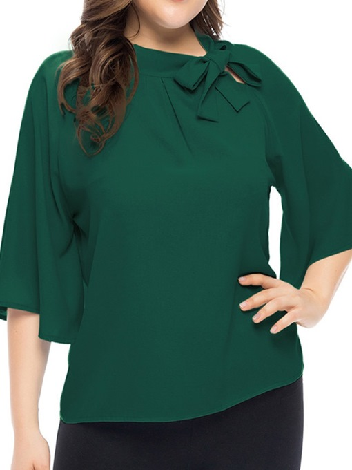 Ericdress Plus Size Bowknot Flare Sleeve Casual Blouse