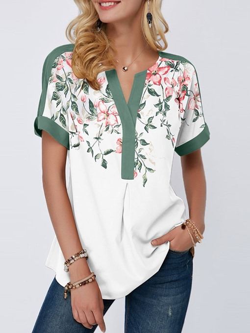 Ericdress V-Neck Floral Short Sleeve Loose T-Shirt