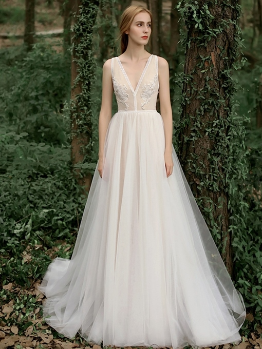 Ericdress Beading Appliques Outdoor Wedding Dress 2019