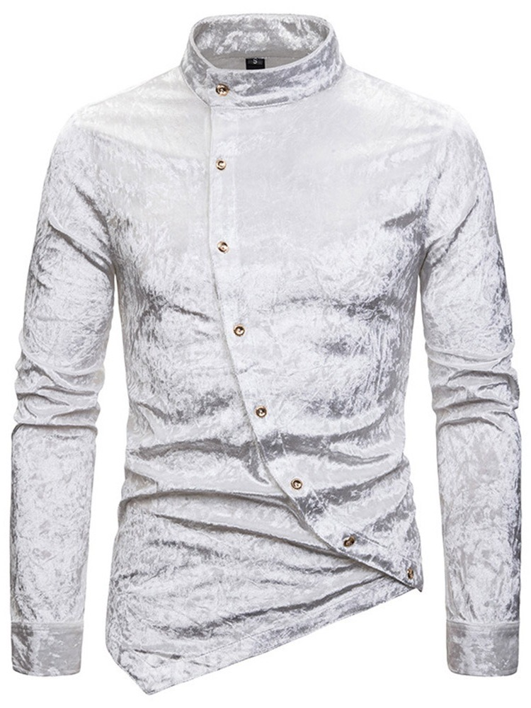 Ericdress Stand Collar Button Plain Single-Breasted Men's Slim Shirt