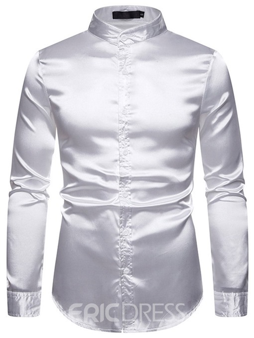 Ericdress Plain Stand Collar Casual Men's Single-Breasted Shirt