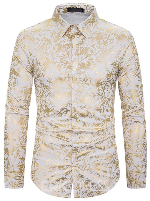 Ericdress Print Lapel Fashion Men's Slim Shirt
