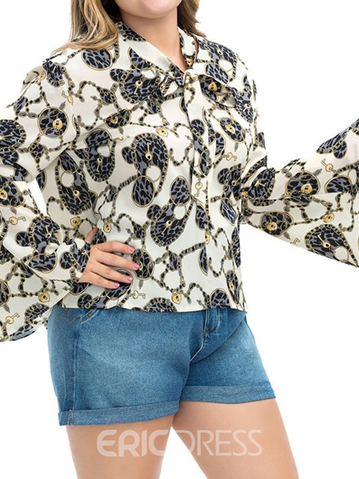 Ericdress Plus Size Flare Sleeve Print Lace-Up Fashion Blouse