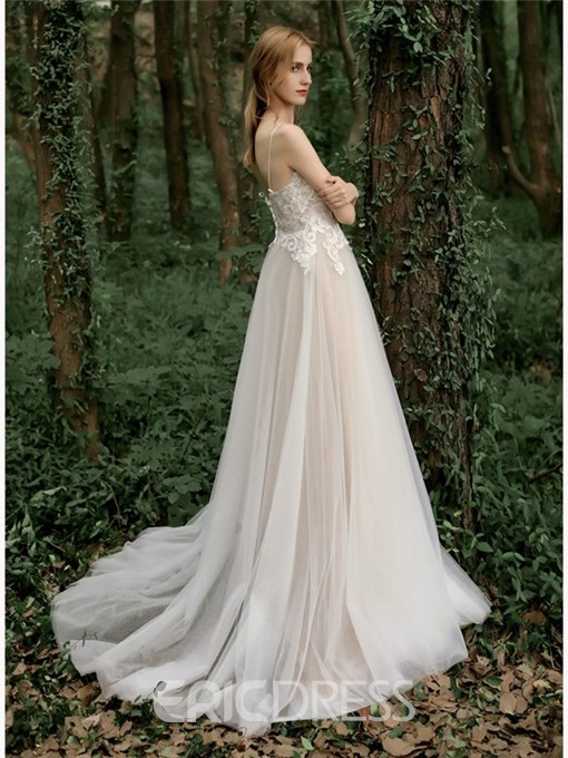 Ericdress Appliques Lace-Up Outdoor Wedding Dress