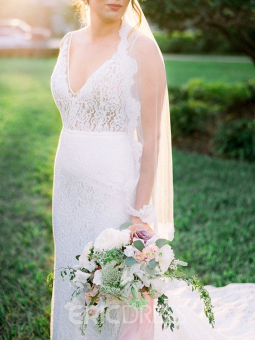 Ericdress V-Neck Low Back Lace Wedding Dress