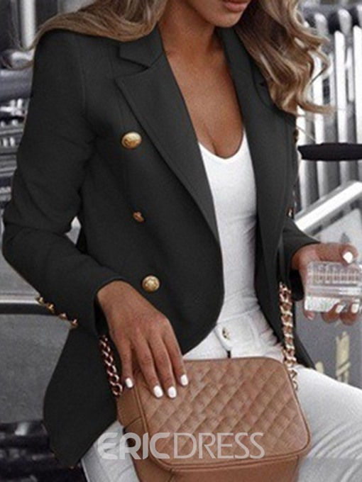 Ericdress Double-Breasted Long Sleeve Notched Lapel Fall Regular Casual Blazer
