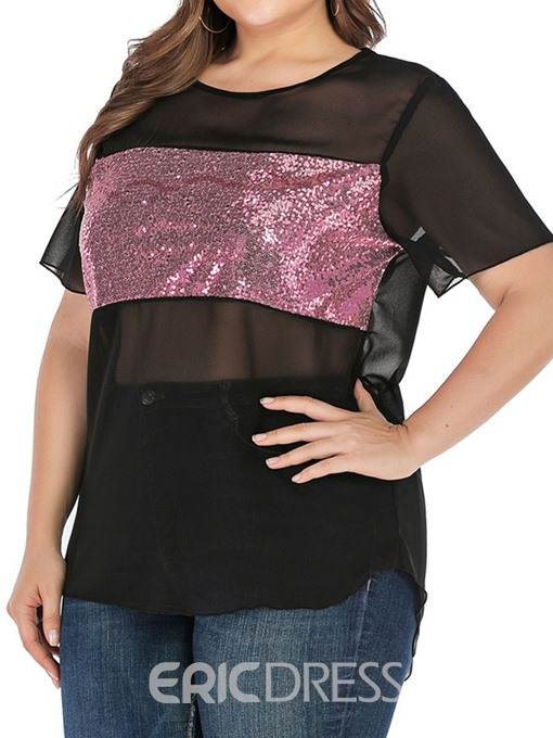 Ericdress Plus Size Color Block See-Through Short Sleeve Blouse
