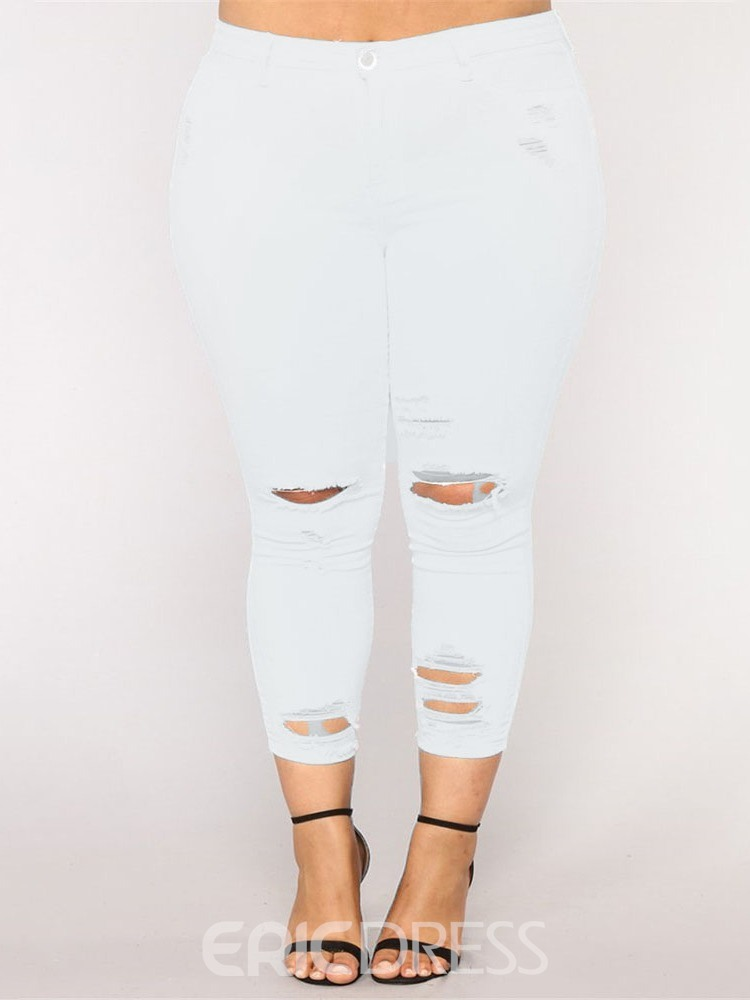 Ericdress Plus Size Plain Skinny Ripped Pants