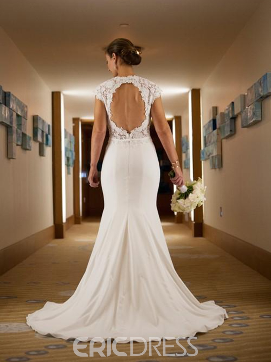Ericdress Lace Cap Sleeves Backless Wedding Dress