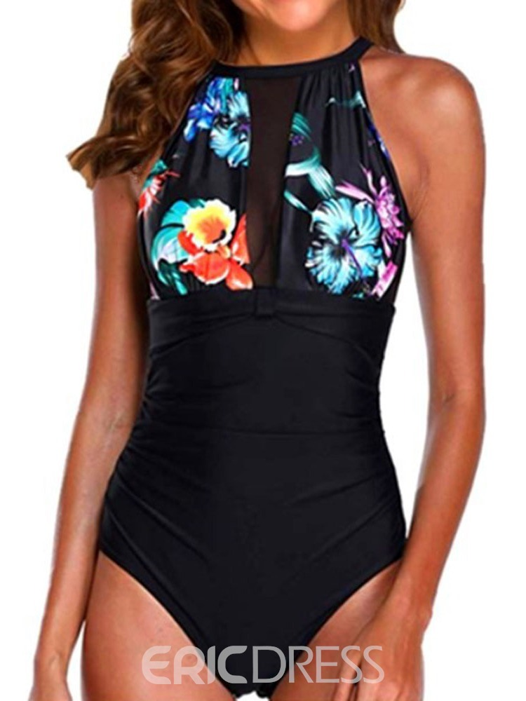 Ericdress Pleated Patchwork Floral Stretchy Swimwear