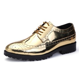 Ericdress PU Lace-Up Round Toe Block Heel Men's Dress Shoes