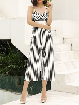 Ericdress Strap Stripe Wide Legs Loose Fashion Jumpsuit