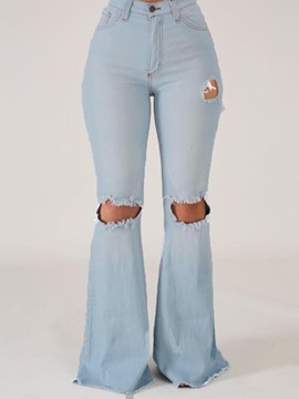 Ericdress Hole Plain Bellbottoms Zipper Slim Jeans