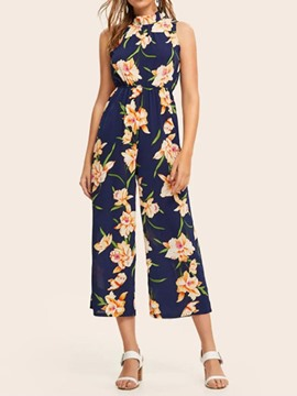 Ericdress Floral Mid-Calf Print High Waist Wide Legs Jumpsuit