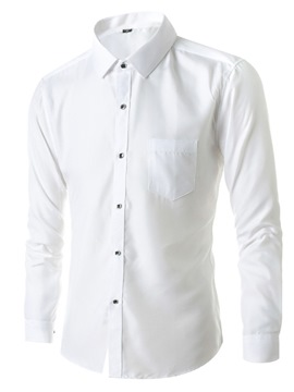 Ericdress Plain Lapel Button Men's Slim Shirt